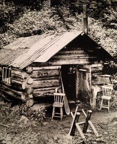 Maine fishing and hunting cabin …photo from about 1890 Old Cabins, Cabins And Cottages, Cabins In The Woods, Old Photos, Vintage Photos, Old Pictures, Hunting Cabin, Le Far West, Old West