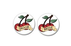 Bride and Groom Cherry buttons   #HenParty #BridalShower #HenNight #Bachelorette #HenDo #pinbacks #pins #badges #cherrybombs #groom #bride #teambride