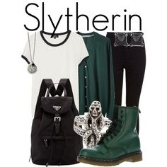 Slytherin from Harry Potter // Back to School Style by ginger-coloured on Polyvore featuring Mode, A.P.C., Tsumori Chisato, Miss Selfridge, Dr. Martens, Prada and Eva Fehren