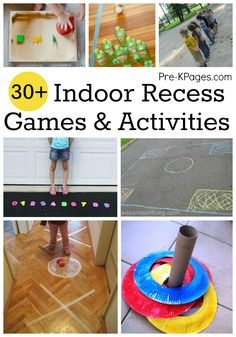 Indoor Recess Games for Preschoolers Fun indoor recess activities and games for those rainy or cold days when you can't get outside with your preschool, pre-k, or kindergarten class. Games For Preschoolers Indoor, Gym Games For Kids, Indoor Activities For Kids, Indoor Recreational Activities, Games For Children, Kid Games, Free Games, Kindergarten Games, Activity Games