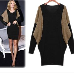 Sexy Batwing Scoop Neck Long Sleeve Cotton Dress For Women