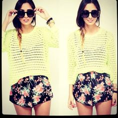 Neon and floral...cute!