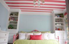 """kids room, Billy """"built-in"""", painted stripe ceiling"""