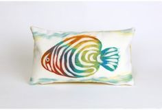 Liora Manne Rainbow Fish 12-Inch x 20-Inch Indoor/Outdoor Throw Pillow in Pearl