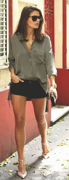 Olive And Black Easy Outfit