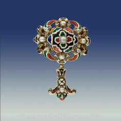 Victorian Swiss Enamel and Pearl Pin - 50-1-1516 - Lang Antiques