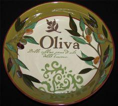 "Certified International OLIVA Soup Pasta Salad Bowl Jennifer Brinley 9.5"" Ref A"