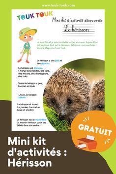 Jeux · Dans ce mini kit, Touk Touk vous explique tout sur le hérisson, ce petit mammifère avec des piquants. À imprimer - gratuit Occuper vos enfants de façon fun et intelligeante. #touktouk #touktoukactivité #herisson #cahieractivité #jeuxenfant #decouverteanimaux