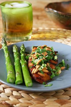 paleo, chicken with pine nuts, this is really good.  next time make into one big salad with the vinaigrette dressing.  boiled asparagus on stovetop 5mins, olive oil lightly salt.