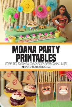 If the sea is calling for a Moana party in your house, look no further for fun ideas that include free printables to create cute desserts and party favors. Moana Birthday Decorations, Moana Birthday Party Theme, Moana Decorations, Moana Themed Party, 4th Birthday Parties, Birthday Fun, Kids Birthday Party Favors, Birthday Ideas, Carnival Birthday