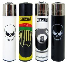 """Bundle – 4 Items – Clipper Lighter """"Skulls 2 with Stalley and Eight Ball"""" Collection"""