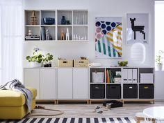 EKET kast | IKEA IKEAnl IKEAnederland nieuw inspiratie wooninspiratie interieur wooninterieur kastencombinatie kasten vakken boekenkast kamer woonkamer veelzijdig opberger opbergen opbergmeubel
