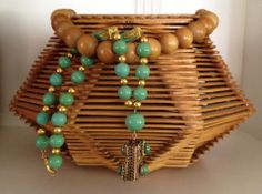 Beautiful VINTAGE Art Deco JADE Green and GOLD Bead Necklace with KILLER Filigree Locket. STUNNING with your summer whites. Neck JUNK.