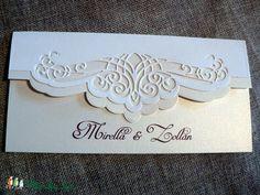 Mirella -  esküvői meghívó, Esküvő, Naptár, képeslap, album, Meghívó, ültetőkártya, köszönőajándék, Papírművészet, Meska