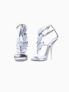 Gold Leaf High Heeled Sandals In White