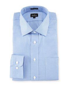 Neiman Marcus Classic-Fit Check Dress Shirt, Blue, Men's, Size: 15.5 34/35