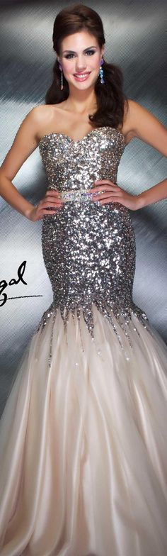 Mac Duggal couture dress nude #strapless #long #formal #dress #glitter MAC DUGGAL PROM  STYLE 85142M <3