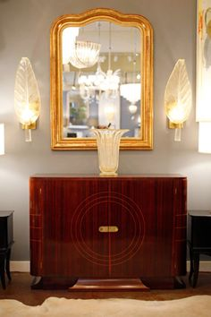 Jean-Marc Fray French Antiques - Art Deco Mahogany and Brass Buffet - 1stdibs / View 2