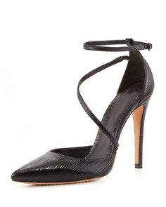 Ridged patent leather.Pointed toe single sole.Asymmetric vamp strap.Thin adjustable ankle strap.dOrsay silhouette.4 covered heel.Leather lining and sole.Delia is made in Brazil. #Fashion  #BergdorfGoodman