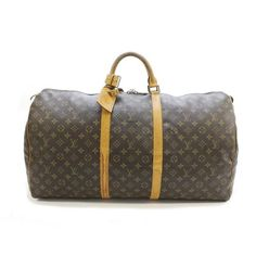Louis Vuitton Keepall 60 Monogram Handle bags Brown Canvas M41422