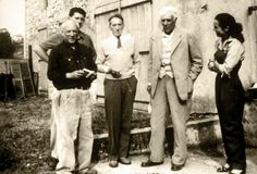 From left to right: Pablo Picasso, his son Paulo, Jean Cocteau, Georges Braque and Françoise Gilot, in front of Picasso's studio, Vallauris, 1953