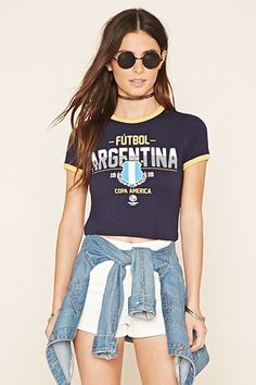 Buy it now. FOREVER21 Women's  Blue & Yellow Cropped Argentina Ringer Tee. Ringer Tee,Cropped,Futbol Argentina,Graphic , topcorto, bralet, strappybralet, bandeautop. Yellow,navy FOREVER21  crop top  for woman.