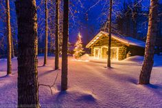 Christmas cabin in the snow