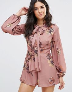 Oh My Love Printed Bell Sleeve Romper With Neck Tie
