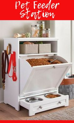 """Love this for keeping all my dog """"stuff"""" in one spot and out of sight. #ad #petorganizer #feeder"""