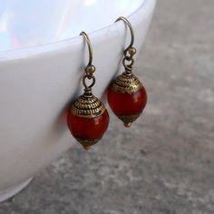 Stability, genuine carnelian hand made Tibetan bead earrings by Lovepray Jewelry