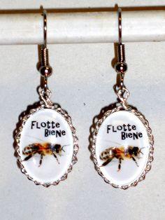 Ohrringe Biene Tiere & Insekten Damen Hänger Edelstahl Ohrschmuck Glas Cabochon