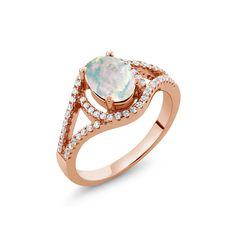 Opal Rings, Gemstone Rings, Silver Rings, Opal Wedding Ring Set, Wedding Rings, Buy Gems, 18k Rose Gold, Rose Gold Plates, Fine Jewelry