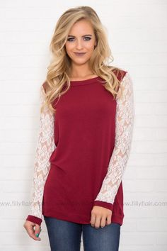 4b943b924cc541 Sleeved to Perfection Burgundy White Lace Long Sleeve Top Filly Flair, Shop  Now, Online