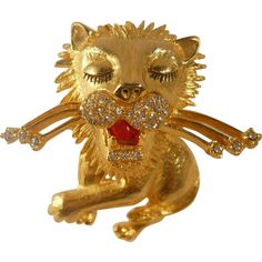 Stylized Proud Lion Figural Brooch Vintage Rhinestones  from Suzy's Timeless Treasures on Ruby Lane