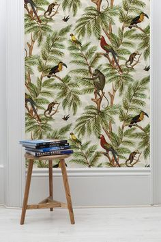 The quirky Jungle Print Wallpaper designed by Miki Rose for The Graduate Collection is an exotic fusion of palm leaves, parrots, monkeys and a wonderful Toucan. Wallpaper Paste, Print Wallpaper, Wallpaper Roll, Animal Wallpaper, Feature Wallpaper, Wallpaper Designs, Flora Und Fauna, World Wallpaper, Tropical Wallpaper