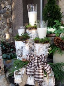 Table display~ Birch logs, pine cones, moss and candles- different heights with great fall textures