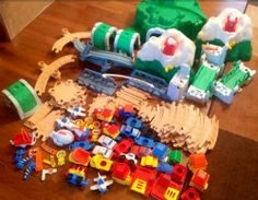 Vintage Fisher Price Flip Track Rail Road Mountain HUGE 100+ Toy Set | evezbeadz - Toys on ArtFire ($225 pick up at my home)