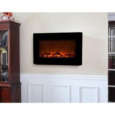 Fire Sense 30 in. Wall-Mount Electric Fireplace in Black-60757 at The Home Depot