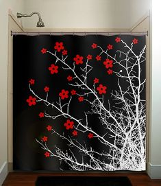 floral branch flower cherry blossom tree shower curtain bathroom decor fabric kids bath white black custom duvet cover rug mat window Instead of a shower curtain, we could do wall art and use orange flowers Black Shower Curtains, Black Curtains, Fabric Shower Curtains, Bathroom Shower Curtains, Window Curtains, Curtain Panels, Bathroom Red, Kid Bathroom Decor, Red Bathrooms