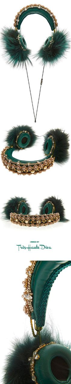 Dolce & Gabbana Fall 2015 Green Embroidered Nappa Leather Headphones With Fox Fur Trim ♔THD♔