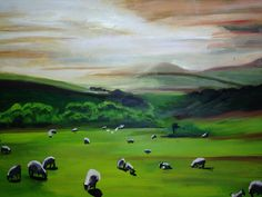 Pastoral scene (first landscape painting), Acrylic on canvas, Charmaine Lim