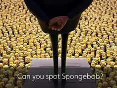 Mind-bending puzzle asks you to locate Spongebob among the crowd of Minions Spongebob Funny Pictures, Spongebob Memes, Spongebob Squarepants, Funny Pics, Test Visual, Funny Mind Tricks, Reto Mental, Cool Optical Illusions, Pineapple Under The Sea