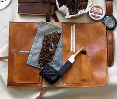 Hand Dyed Delux Leather Pipe & Tobacco Pouch by SorringowlandSons
