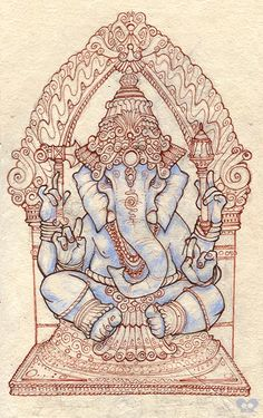 Ganesh is depicted with an elephant's head on a human body and in the Hindu… Hindu, Elephant Art, Hindu Art, Indian Art, Deities, Art, Hinduism, Happy Ganesh Chaturthi, Thai Art
