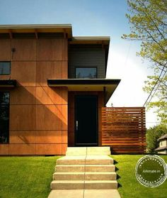 Browse photos of Modern Exterior Cladding Panels Concept Property. Find ideas and inspiration for Modern Exterior Cladding Panels Concept Property to add to your own home Wall Cladding Designs, Exterior Wall Cladding, House Cladding, Timber Cladding, Cladding Panels, Design Exterior, Modern Exterior, Plywood Siding, Cement Siding