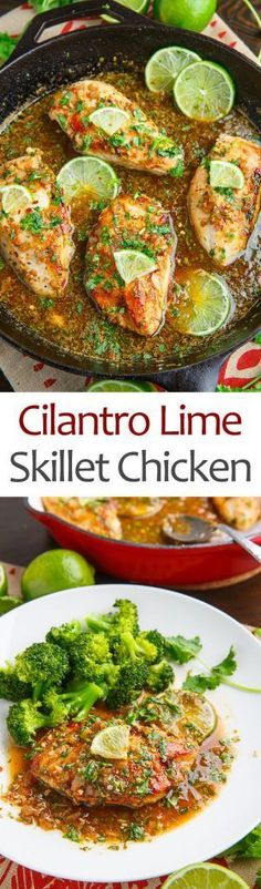 Cilantro Lime Skillet Chicken- 1 lb thin chicken breast 1 TB oil 1 TB butte S&P 4 chopped garlic cloves 1 pinch red pepper flakes (optional) cup chicken broth 1 lime juice and zest 2 TB chopped cilantro I Love Food, Good Food, Mexican Food Recipes, Dinner Recipes, Lunch Recipes, Dinner Ideas, Frango Chicken, Eat Better, Chicken Skillet Recipes