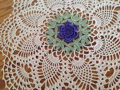 Hand crochet Victorian styleViolet/Purple Rose doily by DEMET