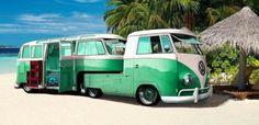 "doyoulikevintage: ""VW Pickup with Camper Trailer "" Hot Rod Trucks, Cool Trucks, Cool Cars, Custom Trailers, Vintage Trailers, Vintage Caravans, Volkswagen Bus, Vw T1, Kombi Trailer"