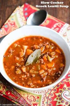 Slow Cooker Greek Lentil Soup - this simple soup is absolutely delicious and so satisfying, perfect for a cold winter day ~ http://jeanetteshealthyliving.com