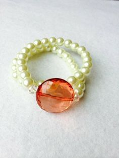 Bella Pearl Wrap Around Bracelet with orange Stone by PearlItUp, $15.99